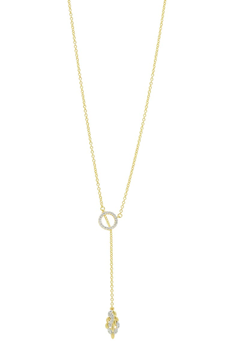 FREIDA ROTHMAN Fleur Bloom Lariat Necklace, Main, color, WHITE/ GOLD