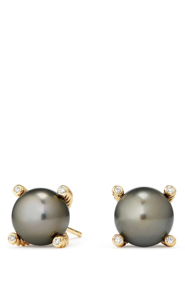 DAVID YURMAN Genuine Pearl Earrings with Diamonds in 18K Gold, Main, color, GOLD/ TAHITIAN GREY PEARL