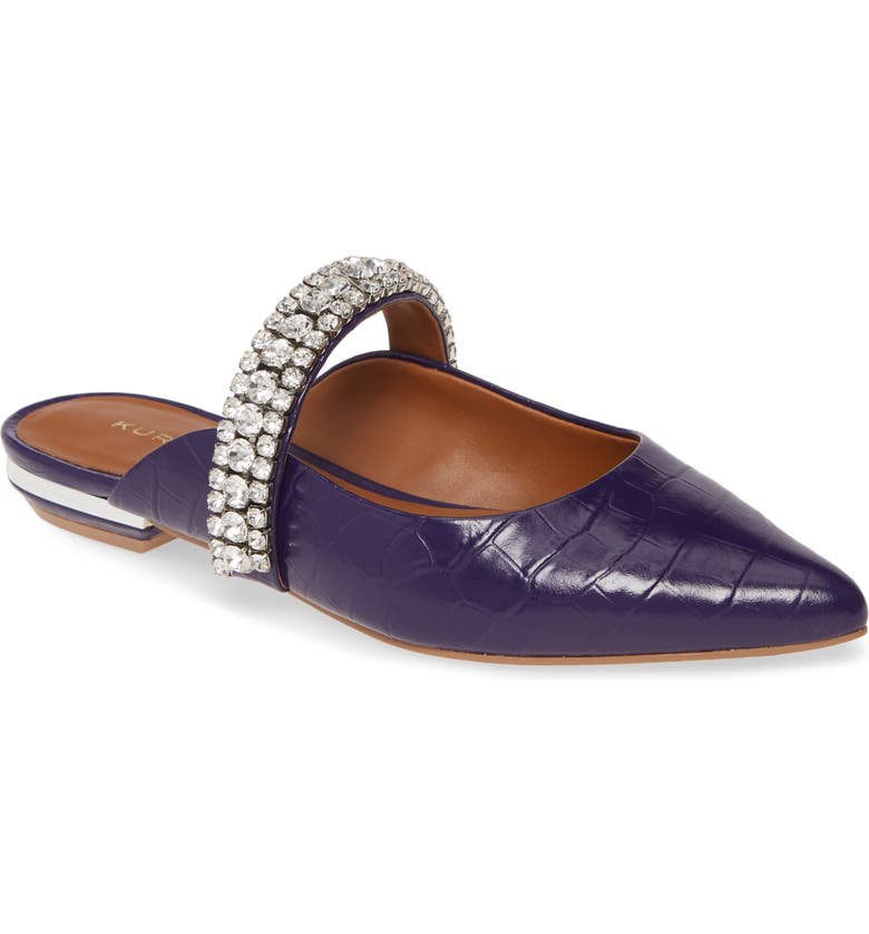KURT GEIGER LONDON Princely Crystal Embellished Mule, Main, color, BLUE CROCODILE PRINT
