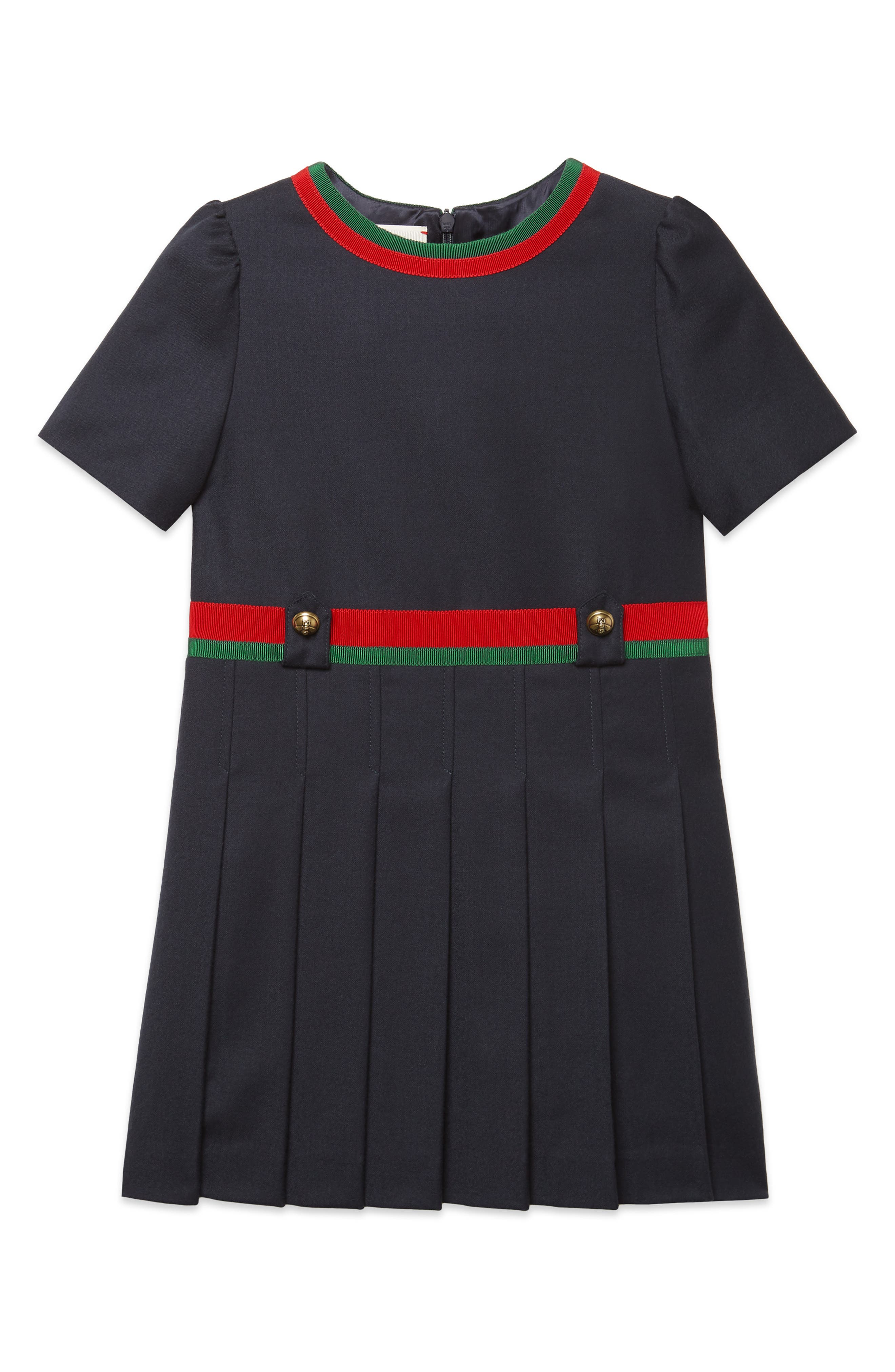 60s 70s Kids Costumes & Clothing Girls & Boys Girls Gucci Pleated Wool Dress Size 4Y - Blue $720.00 AT vintagedancer.com