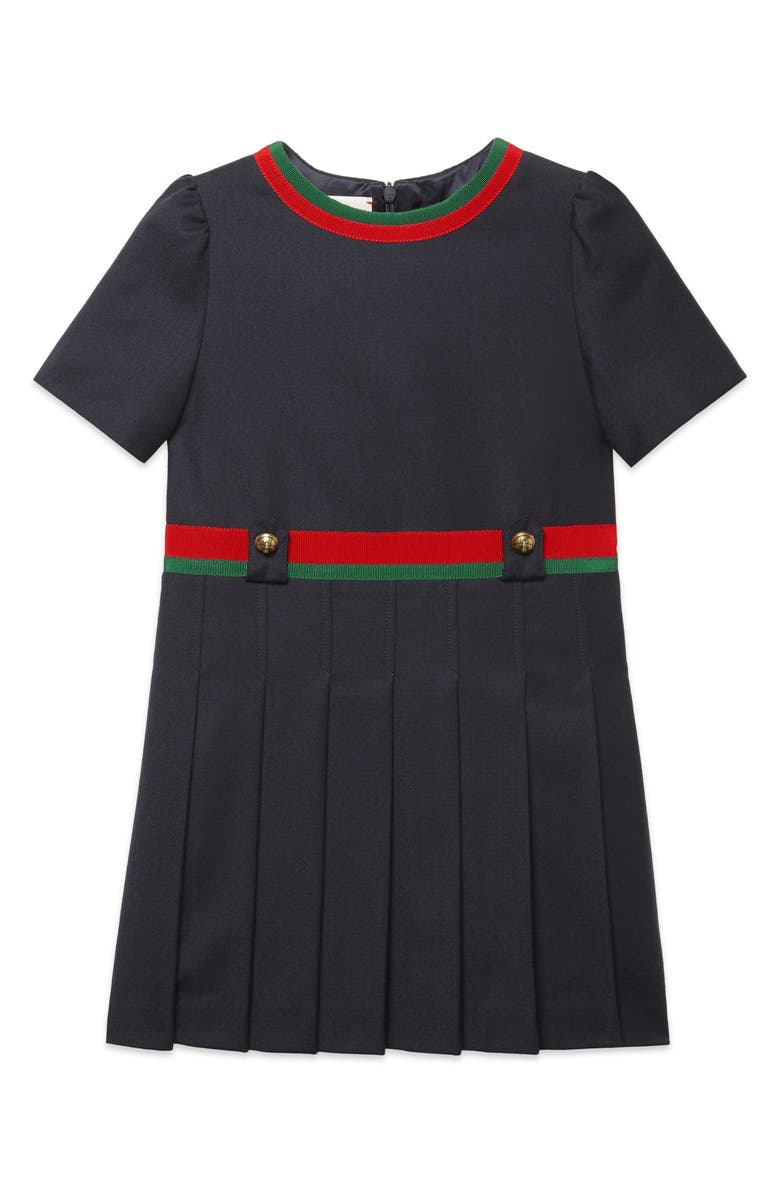 GUCCI Pleated Wool Dress, Main, color, 411