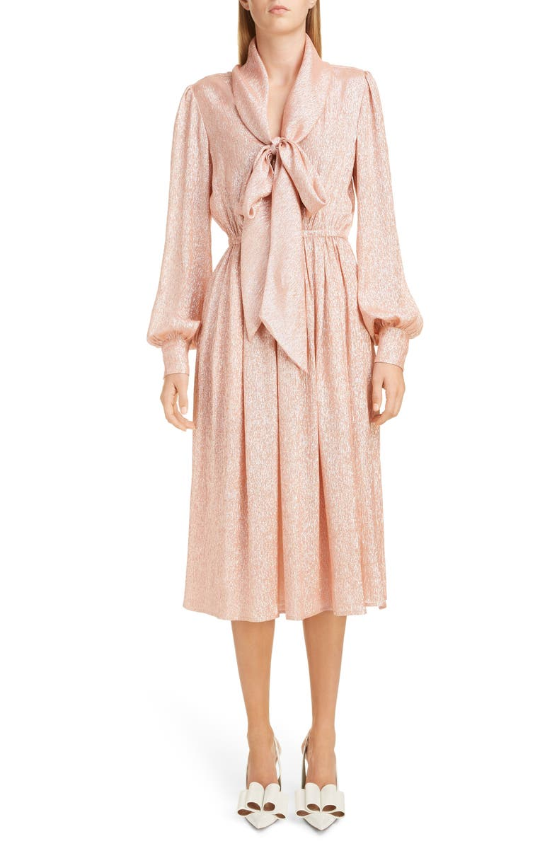 MARC JACOBS Tie Neck Lamé Dress, Main, color, 950