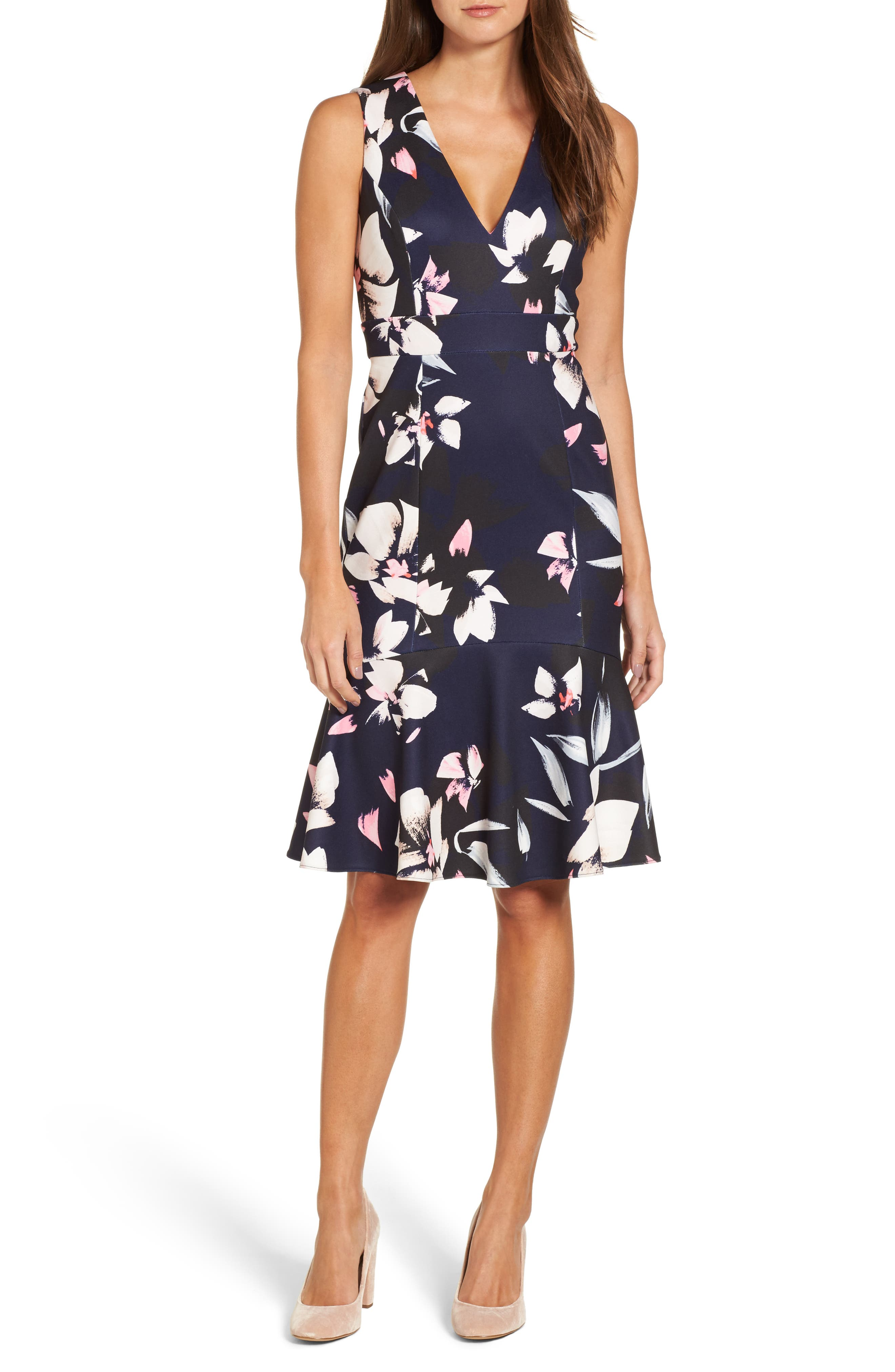 ,                             Stretch Fit & Flare Dress,                             Alternate thumbnail 6, color,                             400