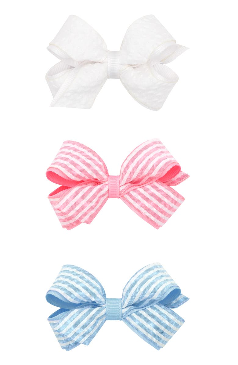 PLH BOWS 3-Pack Seersucker Bow Hair Clips, Main, color, WHITE