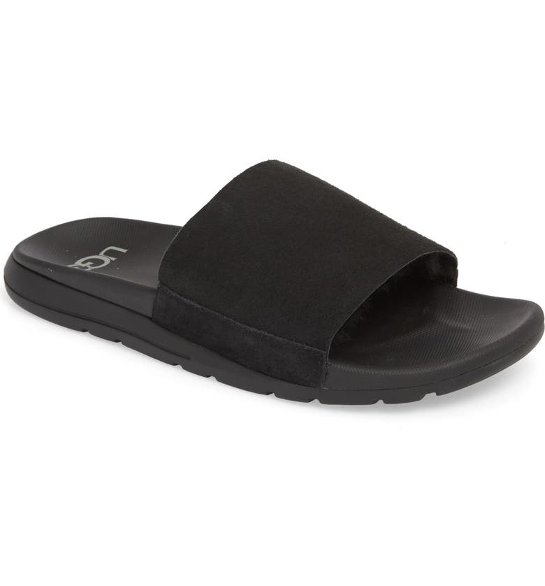 UGG<SUP>®</SUP> Xavier TF Genuine Shearling Slide Sandal, Main, color, BLACK