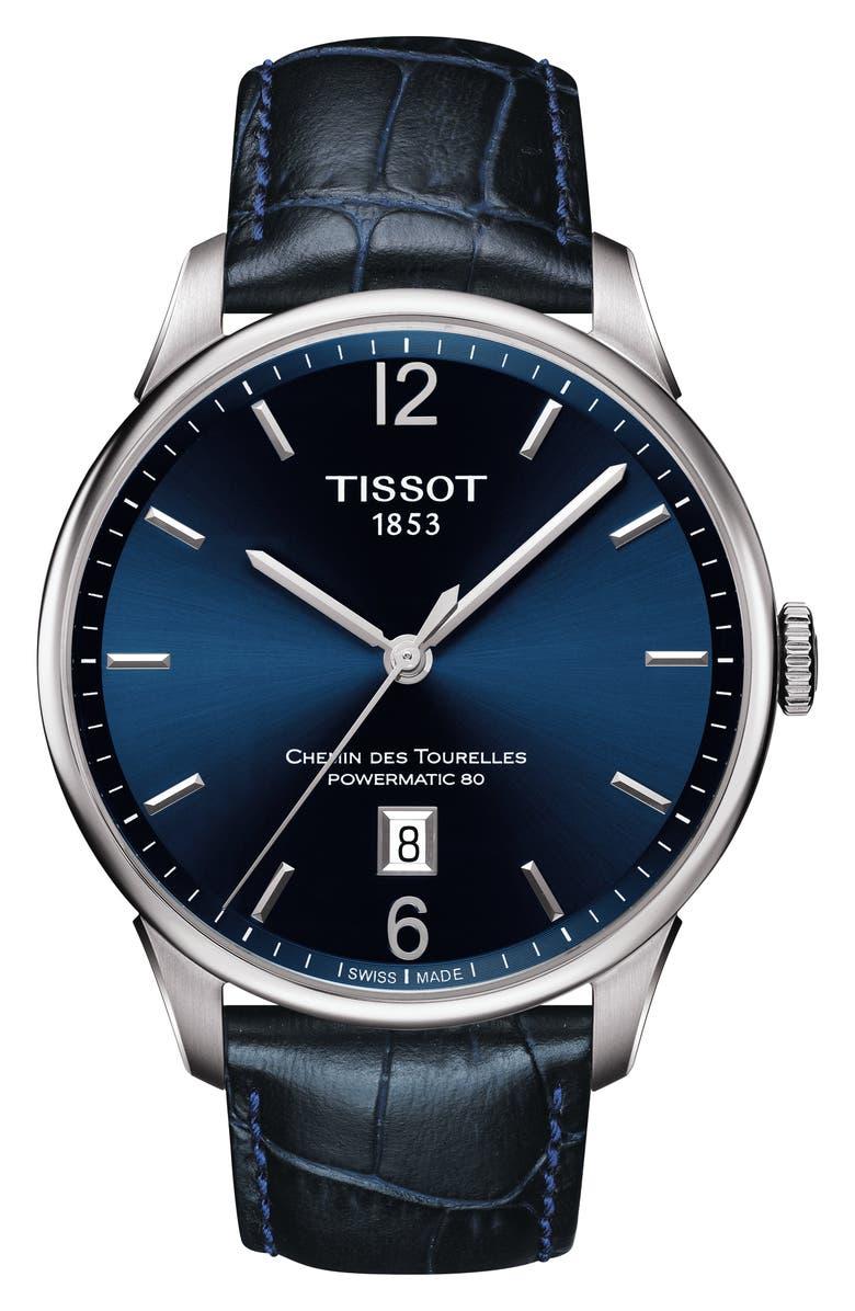 TISSOT Chemin des Tourelles Powermatic 80 Watch, 42mm, Main, color, 400