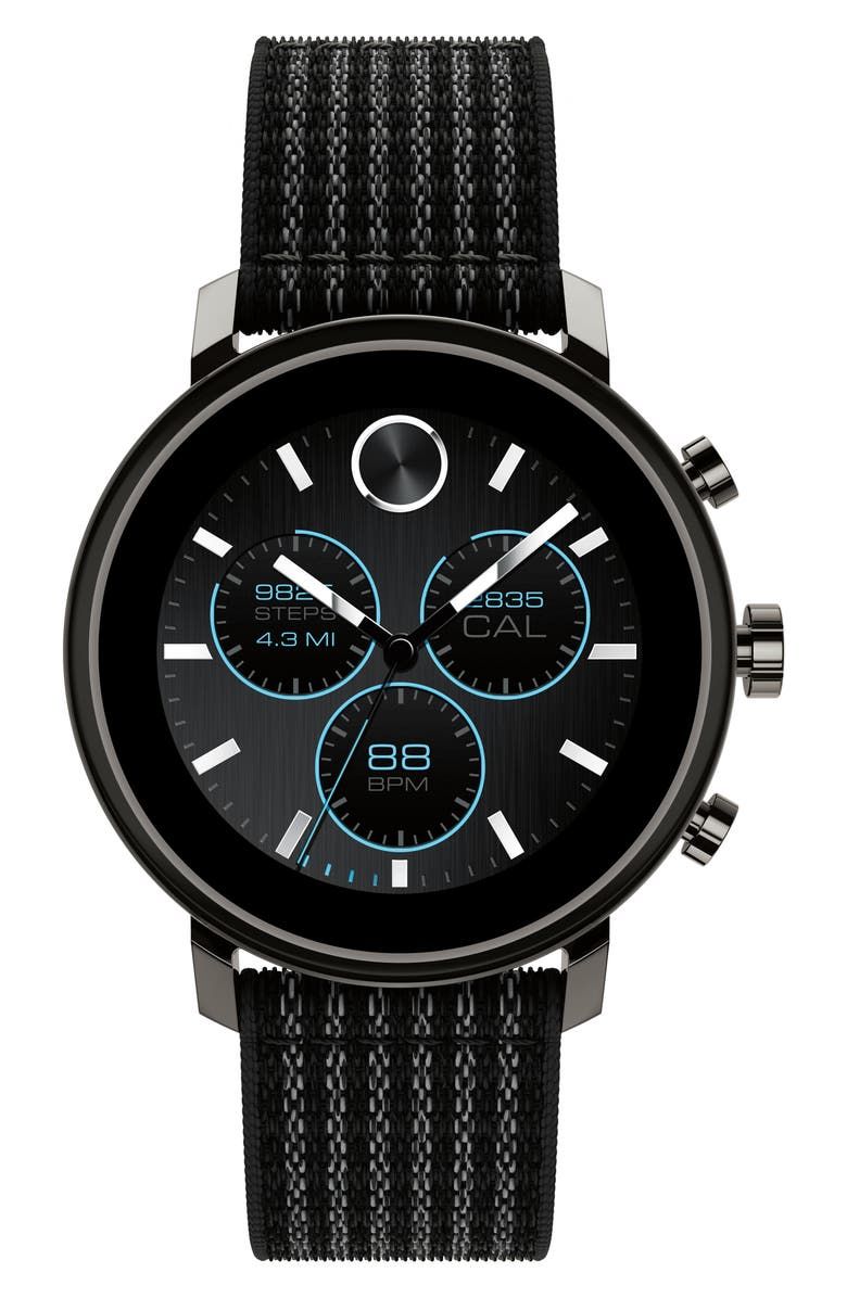 MOVADO Bold Connect Chronograph Woven Strap Smart Watch, 42mm, Main, color, BLACK/ GUNMETAL