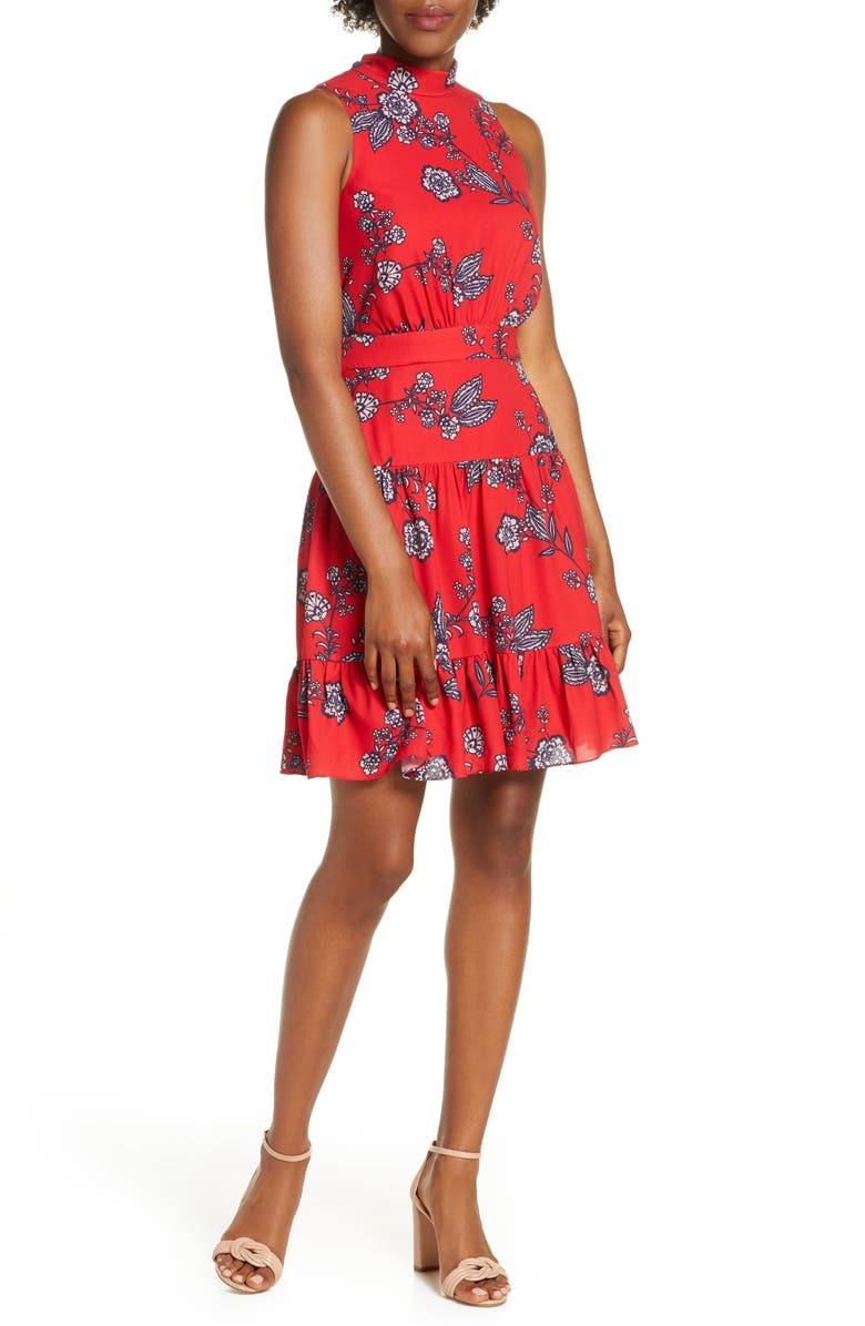 ELIZA J Floral Mock Neck Crepe Fit & Flare Minidress, Main, color, RED
