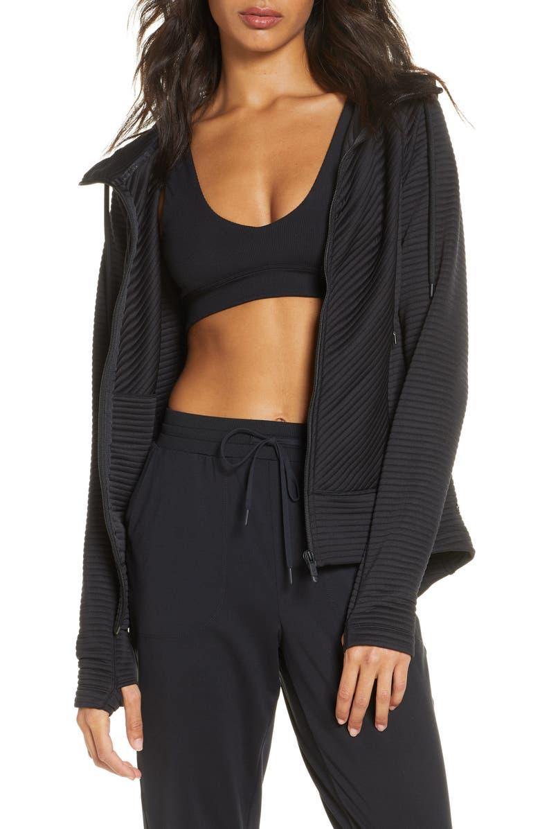 ZELLA Zen Ottoman Full Zip Hoodie, Main, color, BLACK