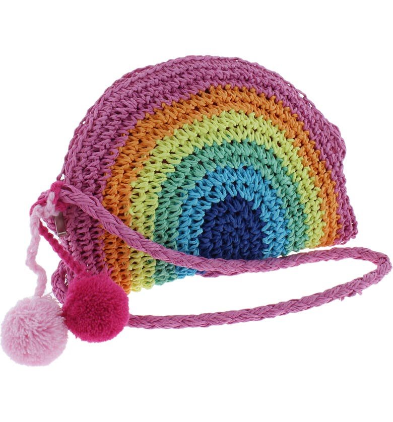 CAPELLI NEW YORK Rainbow Straw Crossbody Bag, Main, color, 000