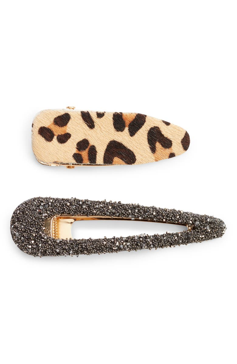 BP. x Claudia Sulewski Set of 2 Leopard & Glitter Hair Clips, Main, color, BLACK