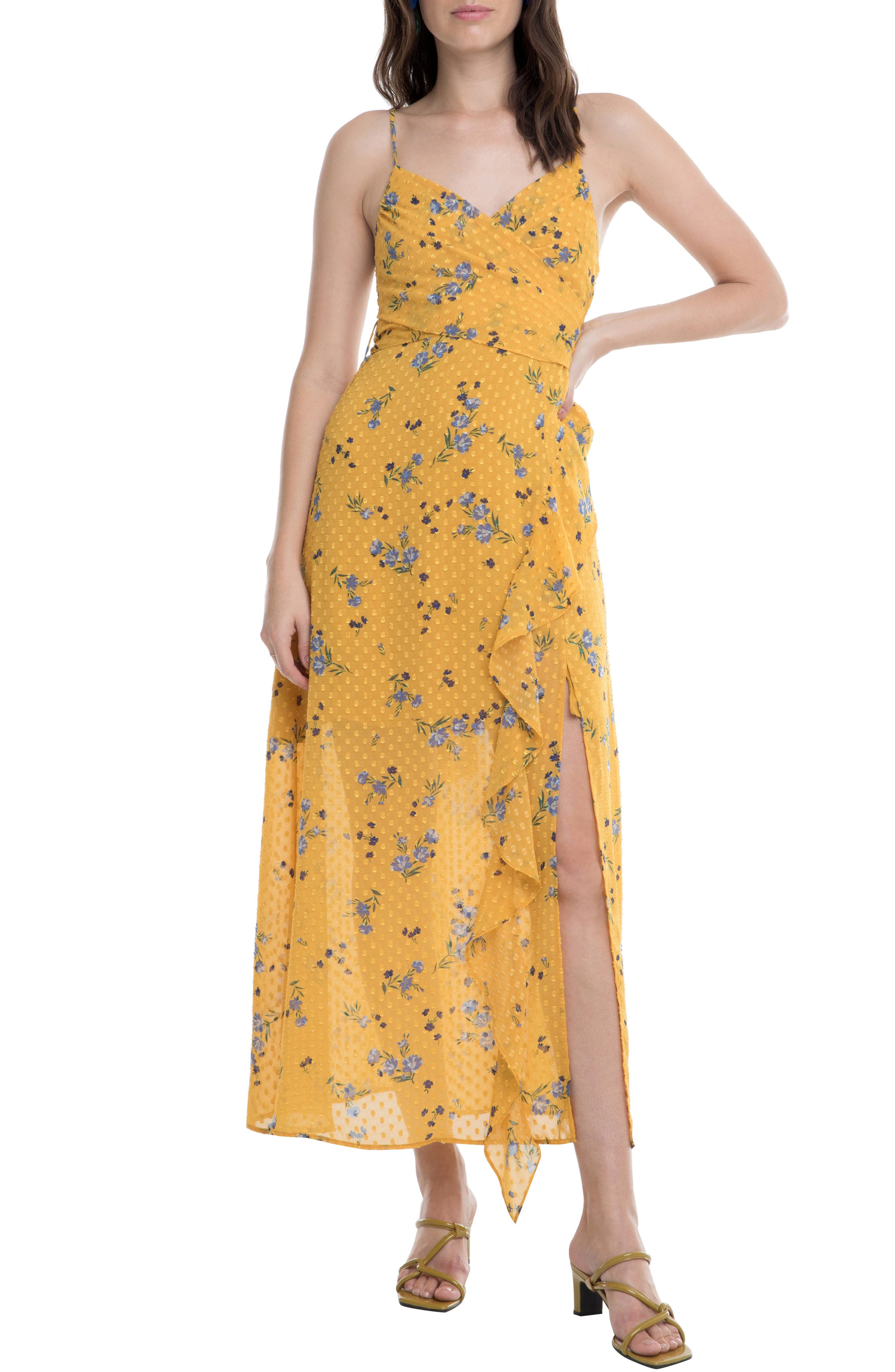 Astr The Label Bette Clip Dot Floral Print Wrap Dress, Yellow