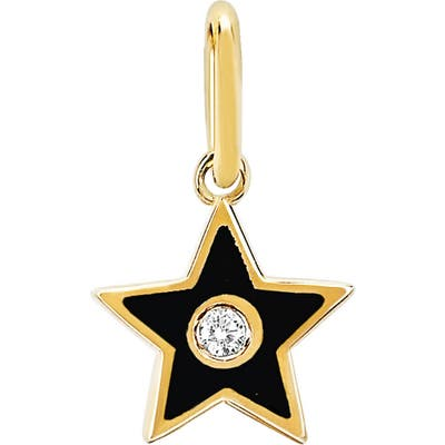 Ef Collection Diamond & Black Enamel Star Pendant Charm