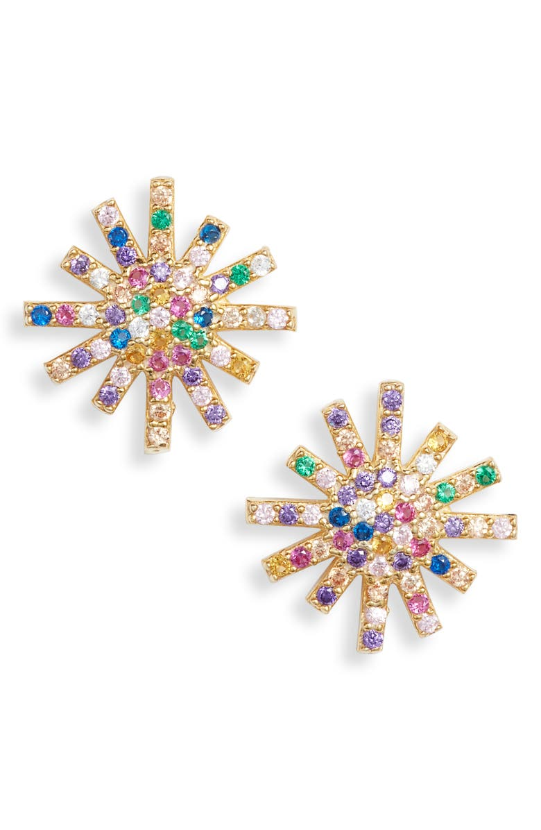 KAREN LONDON Starburst Stud Earrings, Main, color, RAINBOW