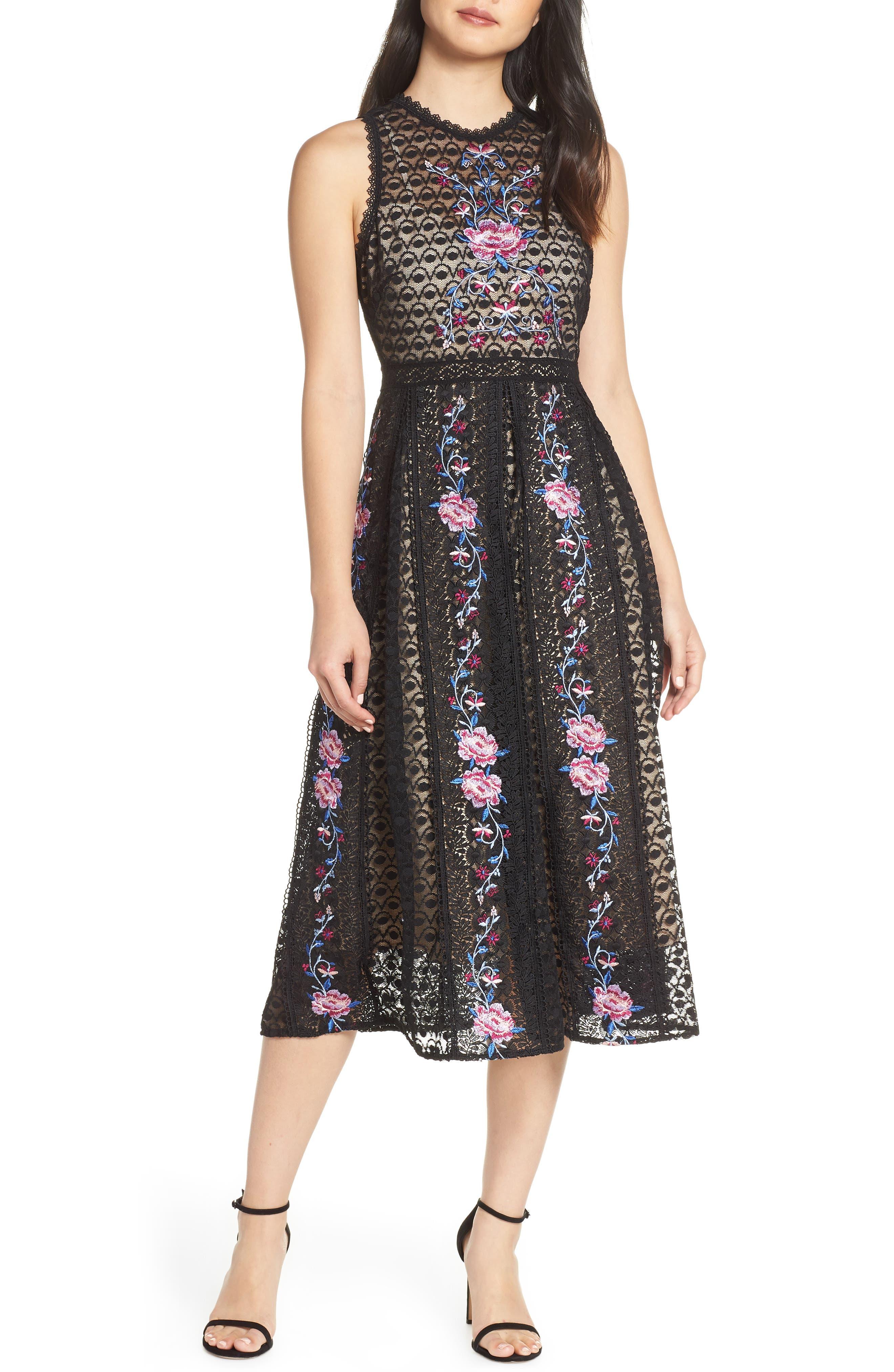 Foxiedox Lori Embroidered Lace Midi Dress, Black
