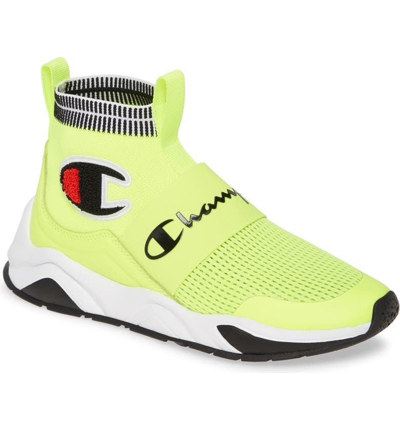 CHAMPION Rally Pro High Top Sock Sneaker, Main, color, NEON LIGHT/ BLACK