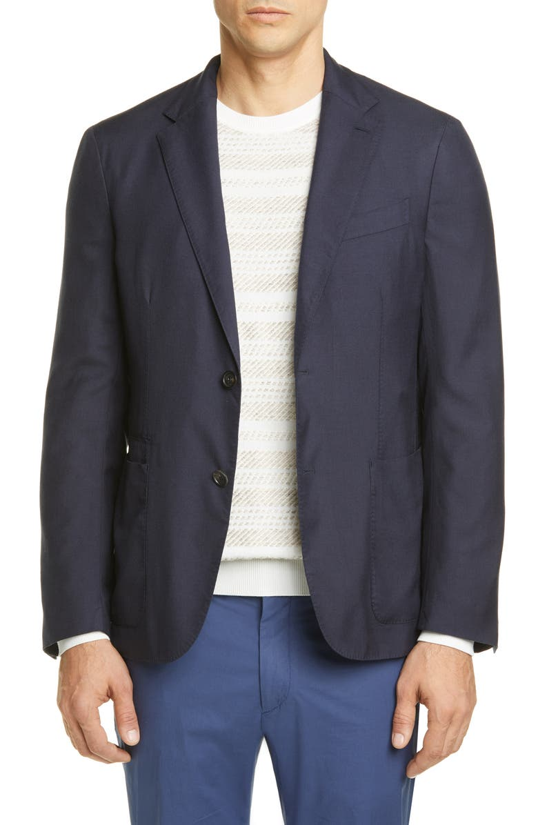 ERMENEGILDO ZEGNA Informale Classic Fit Cashmere & Silk Sport Coat, Main, color, NAVY