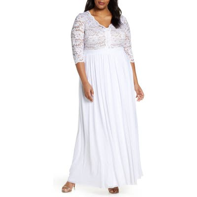 Plus Size Kiyonna Everlasting Lace Pleated Dress, White