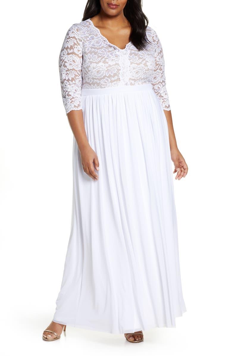 KIYONNA Everlasting Lace Pleated Dress, Main, color, WHITE