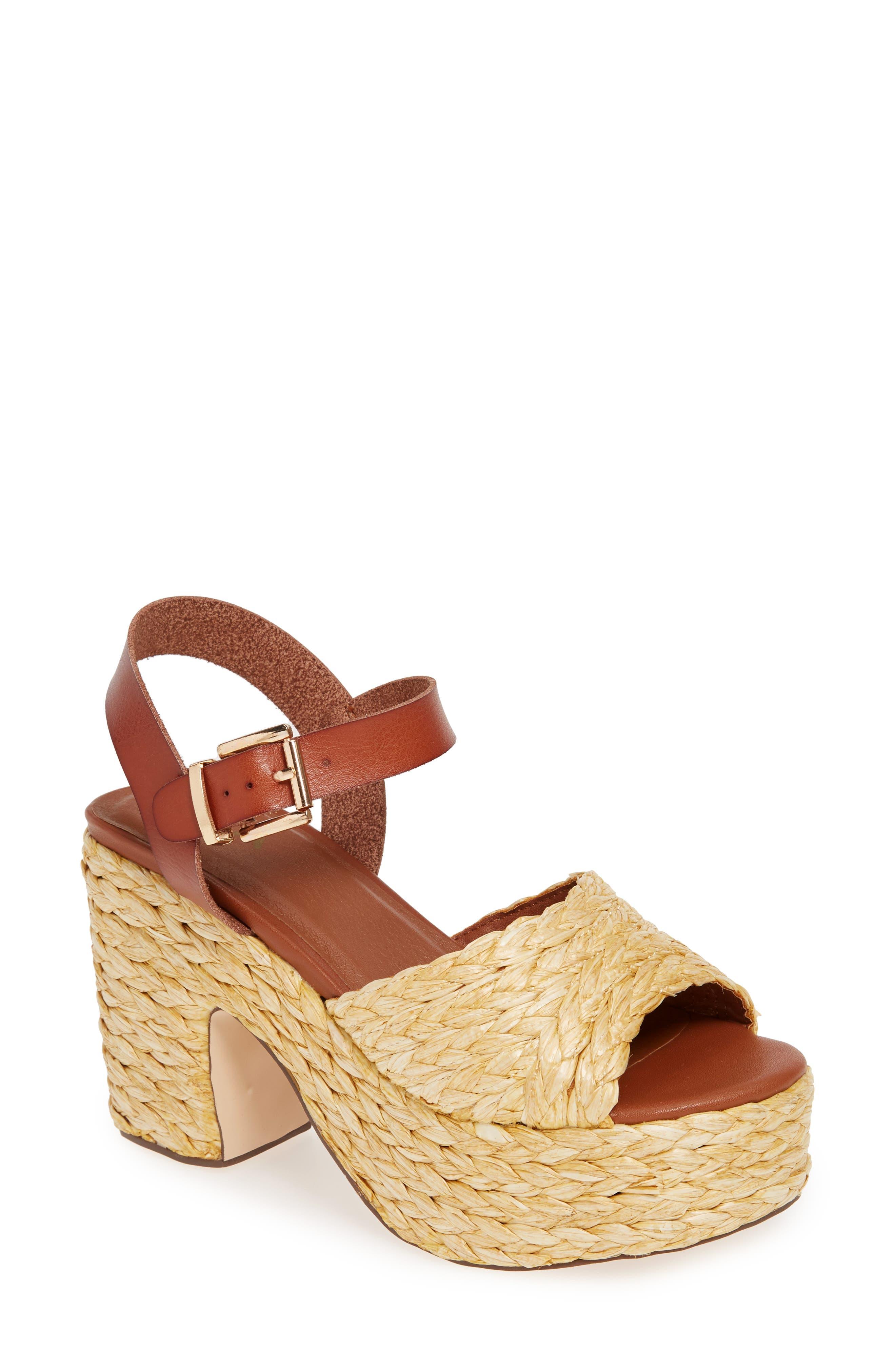 Mia Whitney Woven Platform Sandal- Brown