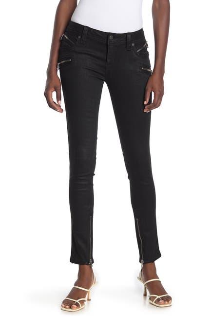 Image of Rock Revival Skinny Zip Coated Moto Jeans