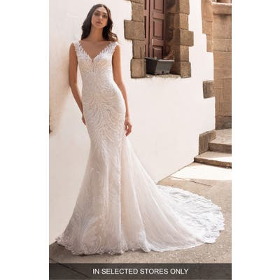 Pronovias Rhea Embellished Trumpet Wedding Dress, Size IN STORE ONLY - Ivory