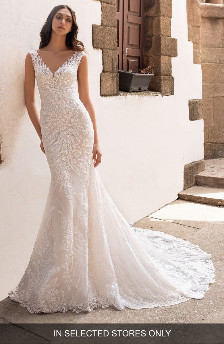 Pronovias Rhea Embellished Trumpet Wedding Dress Nordstrom