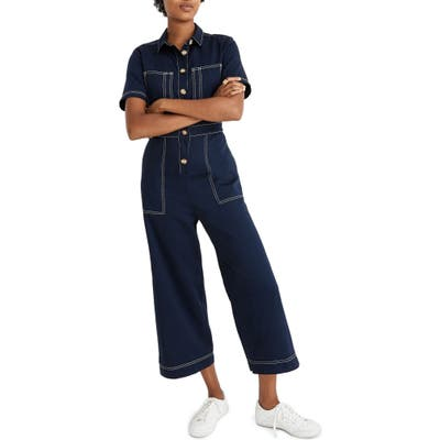 Madewell Contrast Stitch Retro Jumpsuit, Blue