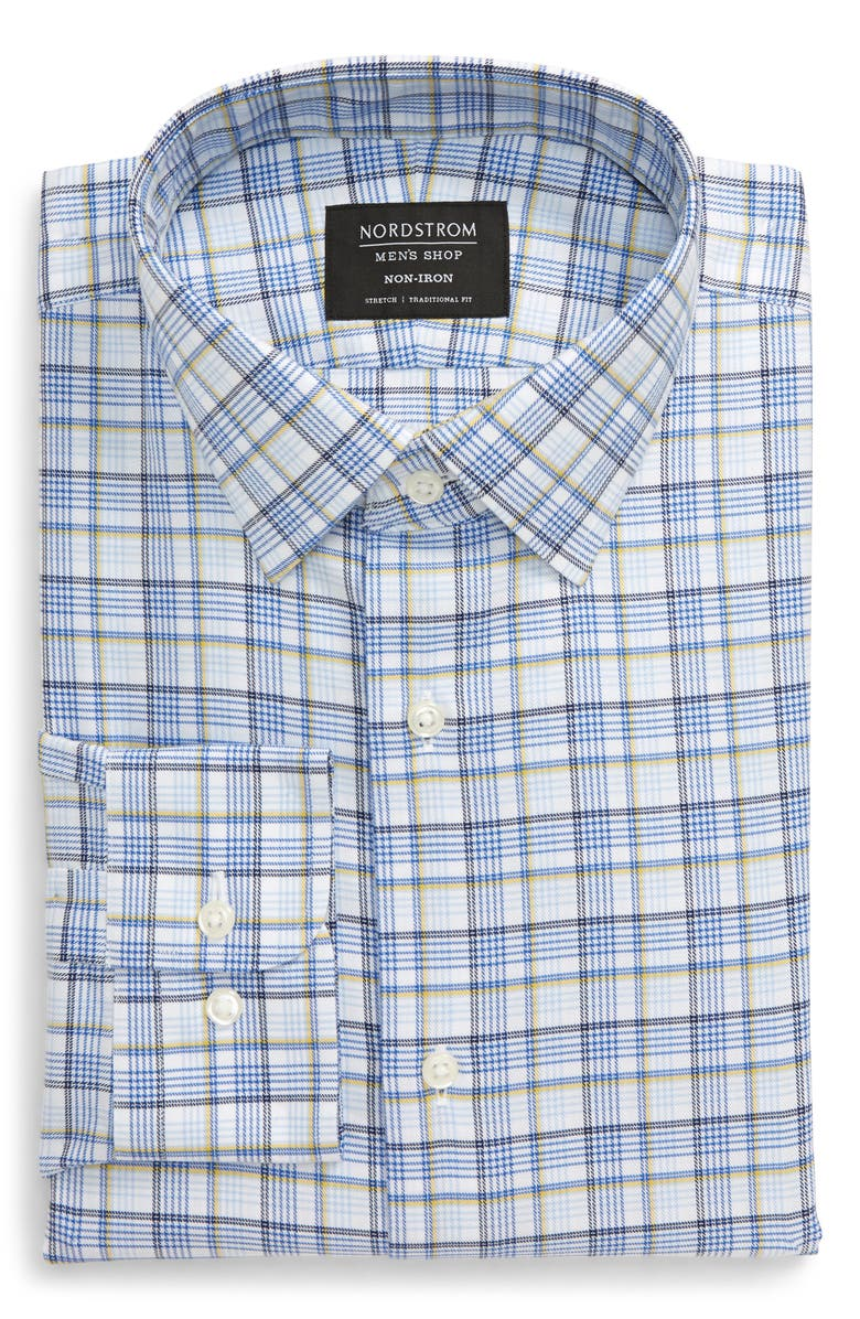 NORDSTROM MEN'S SHOP Traditional Fit Non-Iron Plaid Dress Shirt, Main, color, YELLOW DAFFODIL