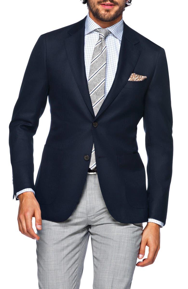 SUITSUPPLY Slim Fit Navy Wool Sport Coat, Main, color, NAVY