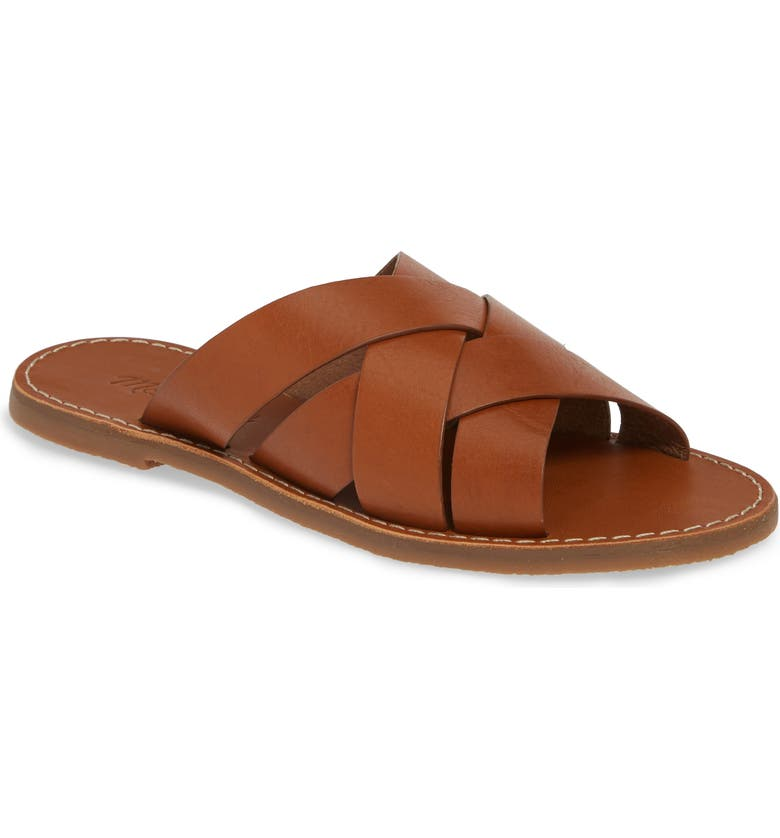 MADEWELL The Boardwalk Woven Slide Sandal, Main, color, ENGLISH SADDLE