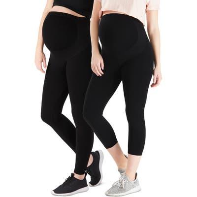 Belly Bandit 2-Pack Bump Support(TM) Leggings & Bump Support(TM) Capri Leggings, Black