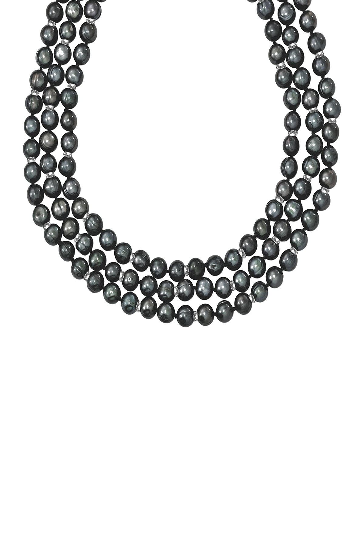 Image of Savvy Cie Sterling Silver 7mm Black Pearl and Hematite Triple Strand Necklace