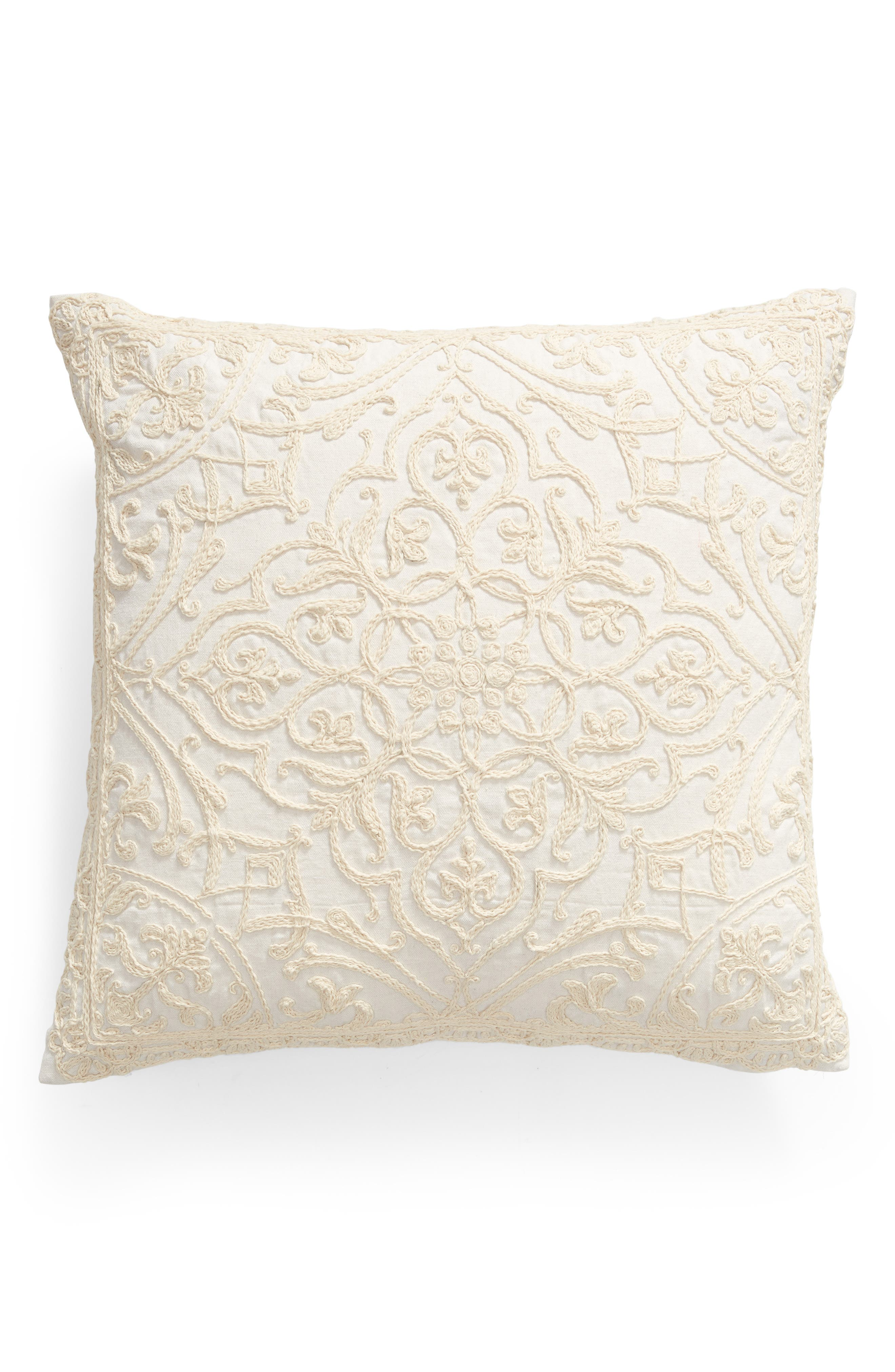 Rose Garden Embroidered Accent Pillow, Main, color, NATURAL
