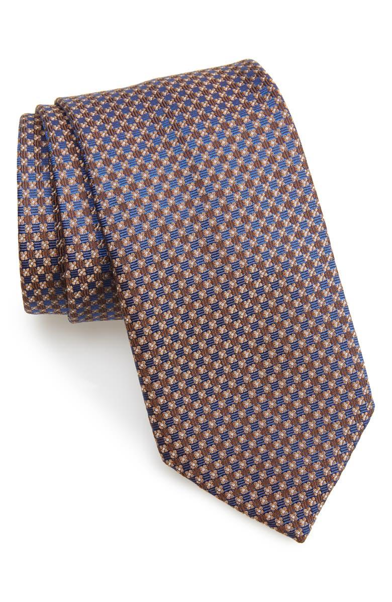 DAVID DONAHUE Geometric Silk Tie, Main, color, CHOCOLATE