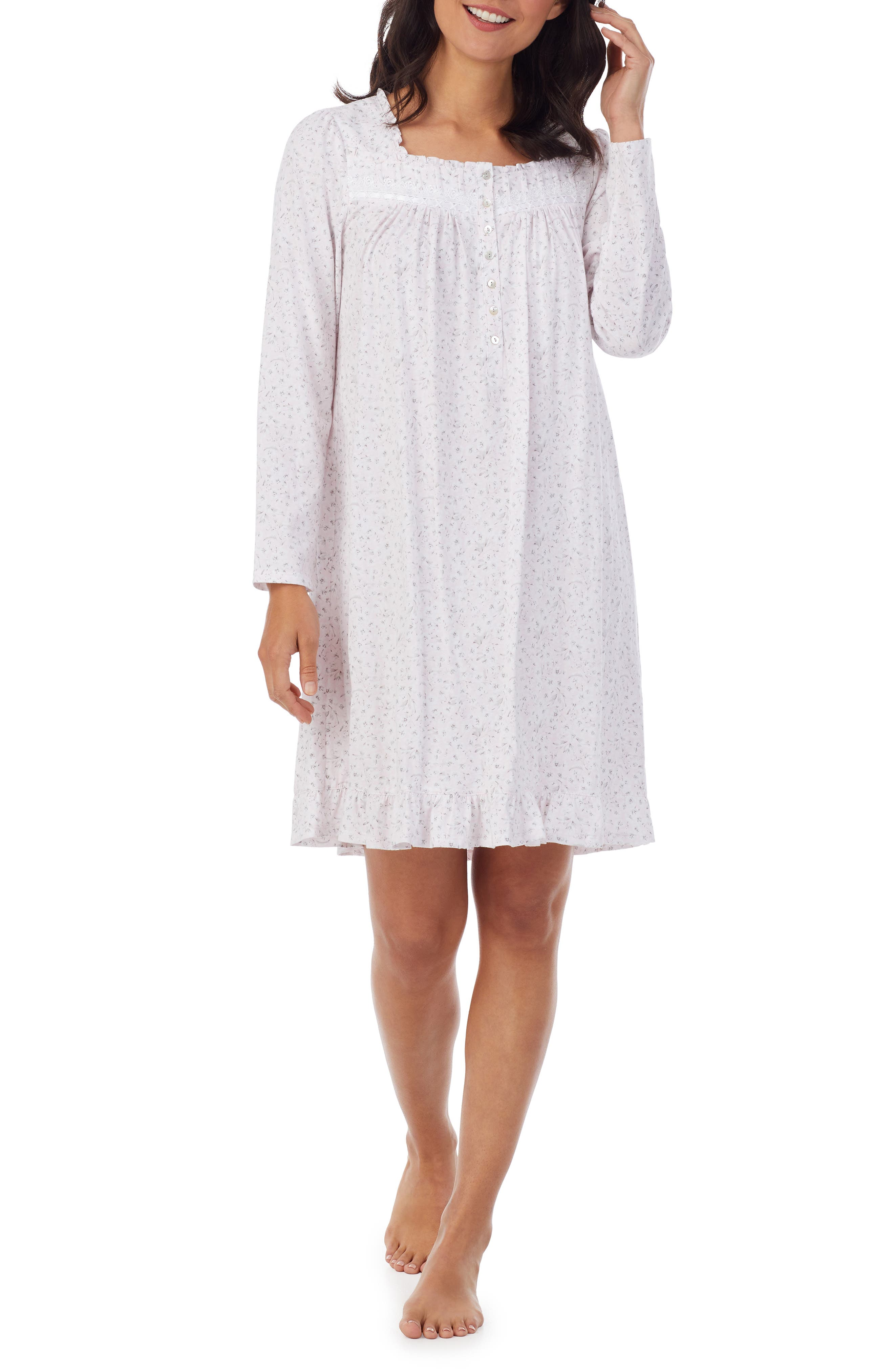 Lace Trim Long Sleeve Nightgown