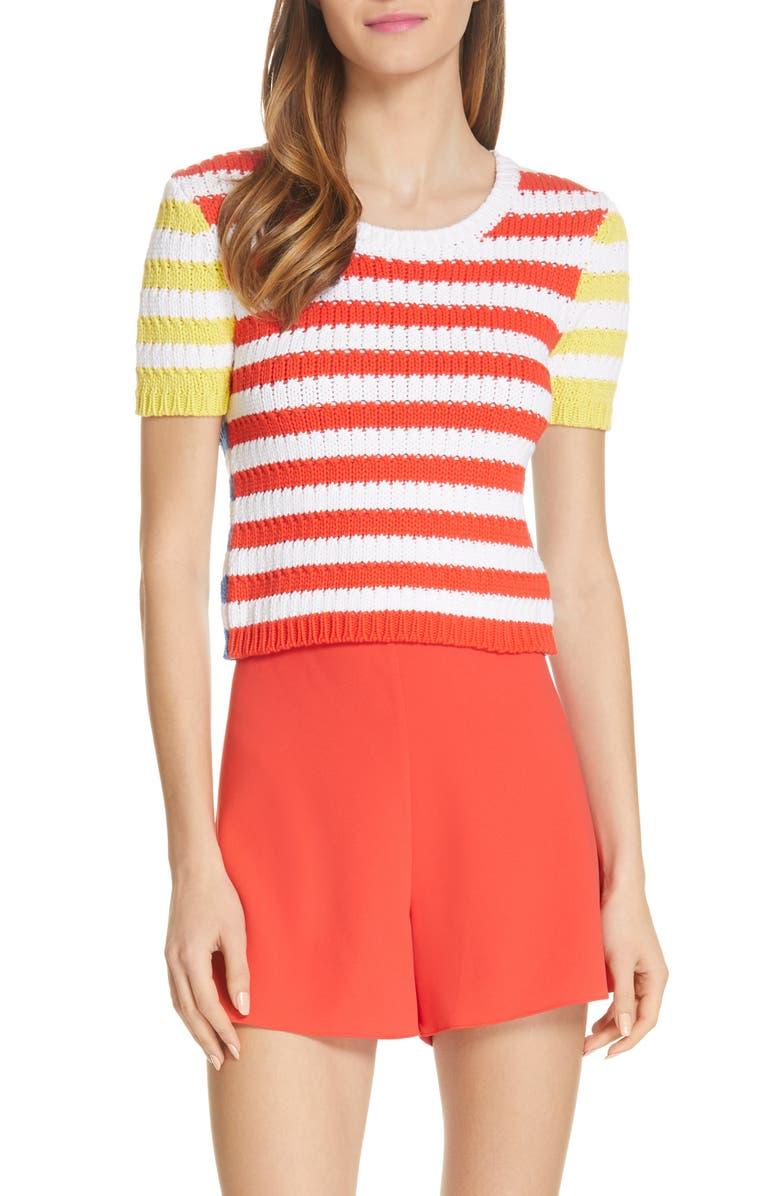 ALICE + OLIVIA Ciara Stripe Short Sleeve Crop Sweater, Main, color, 950