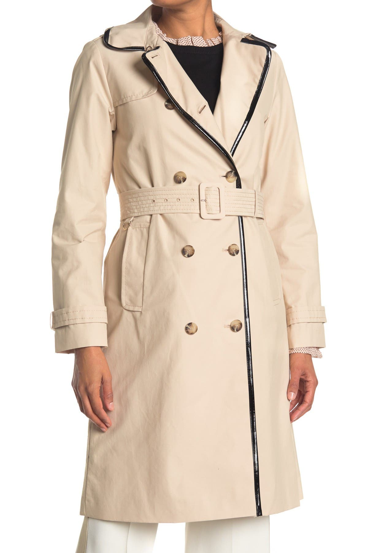Image of kate spade new york double breasted belted trench coat