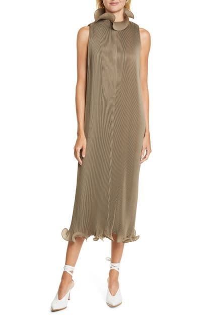 Tibi Dresses RUFFLE TRIM PLEATED MIDI DRESS