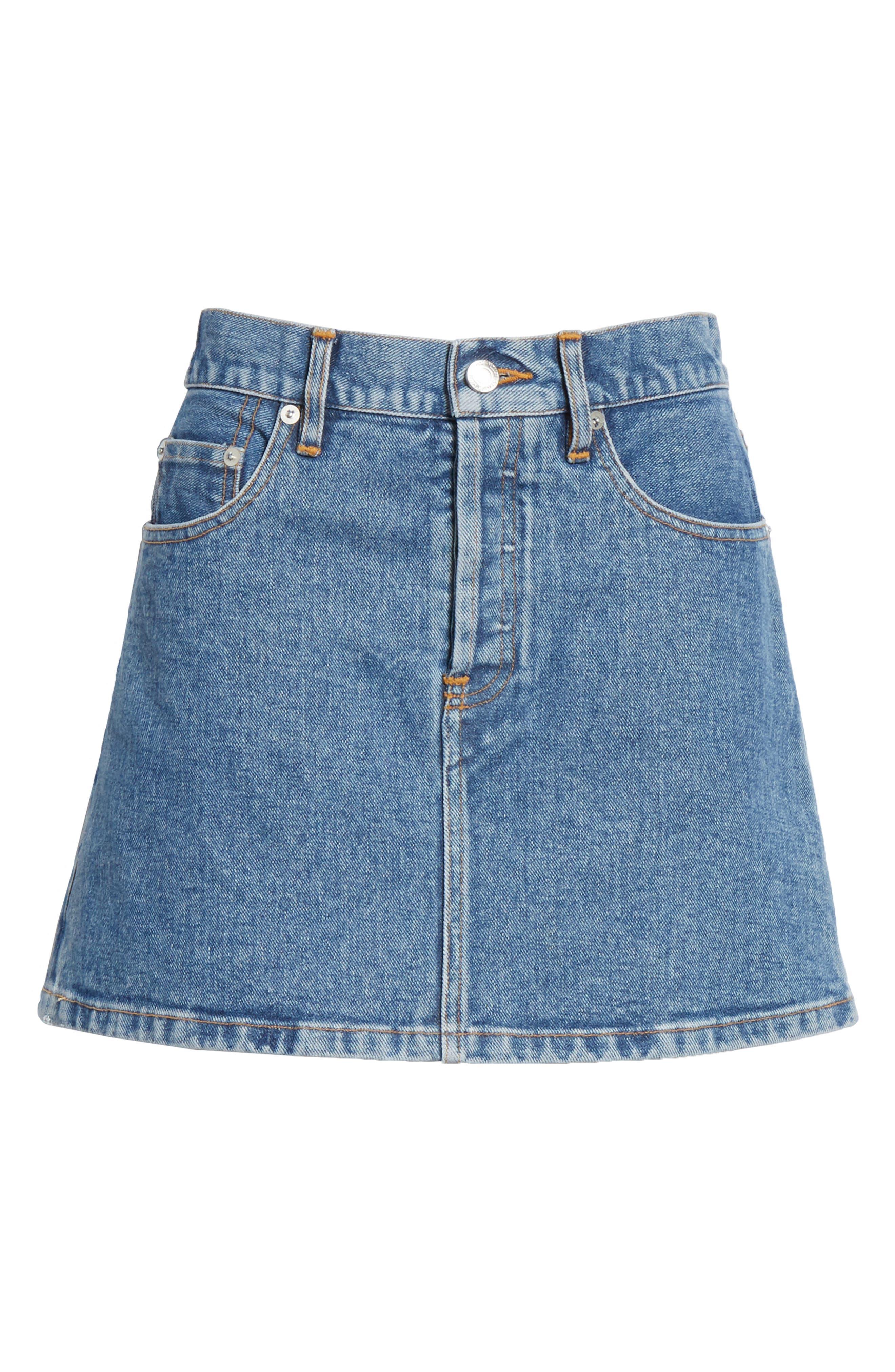 ,                             Denim Miniskirt,                             Alternate thumbnail 6, color,                             VINTAGE WASH 4