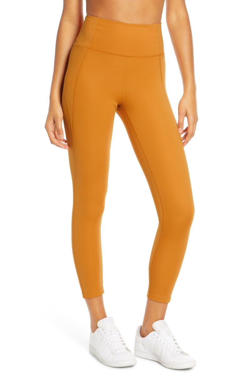 GIRLFRIEND COLLECTIVE High Waist 7/8 Leggings, Main, color, HONEY