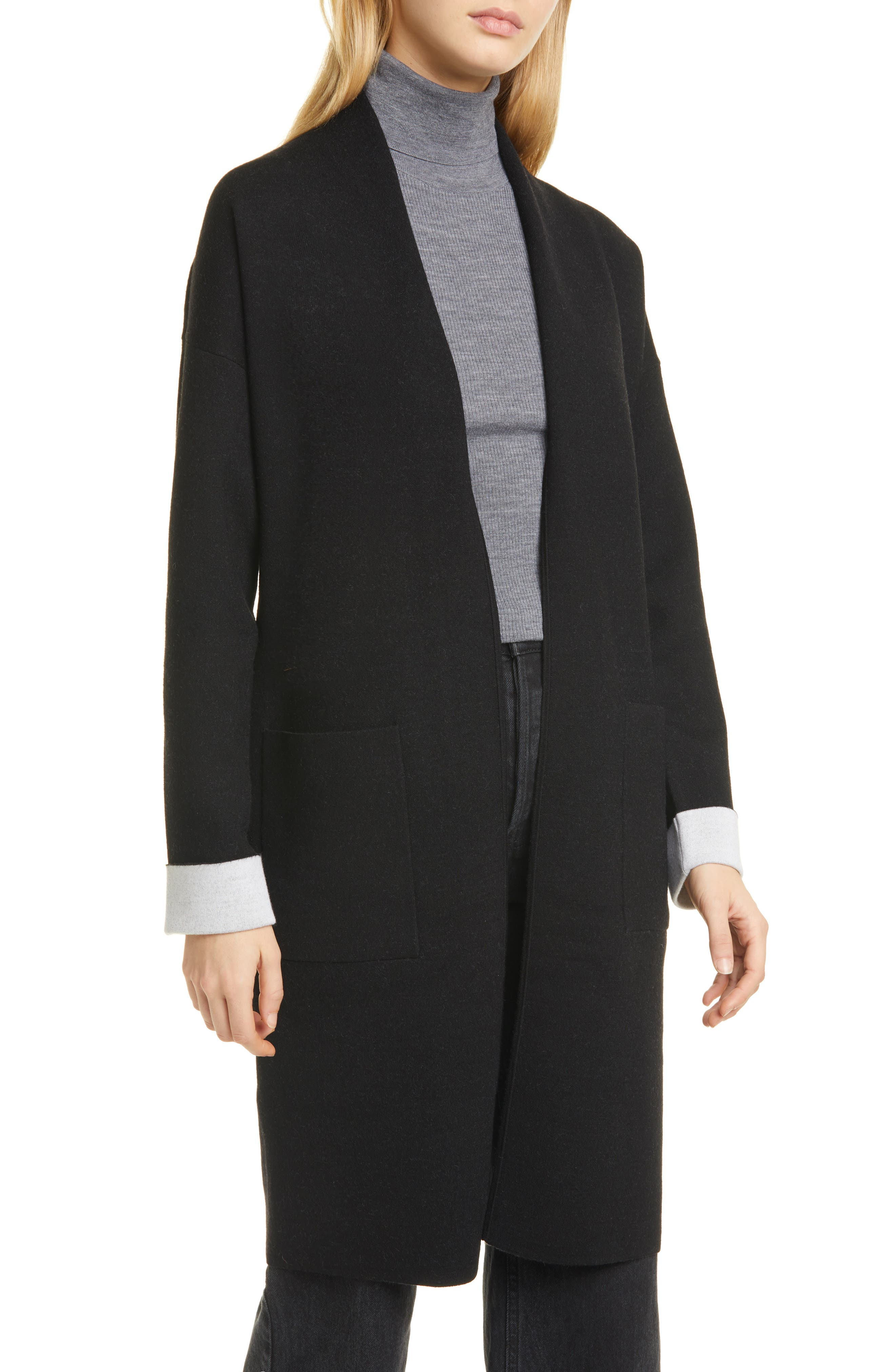 Image of Theory Open Front Double Face Wool Blend Long Cardigan