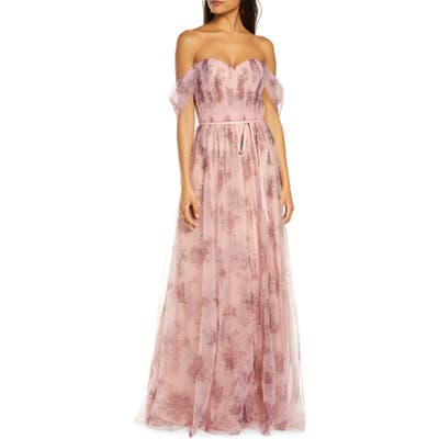 Marchesa Notte Off The Shoulder Floral Tulle Bridesmaid Gown, Pink