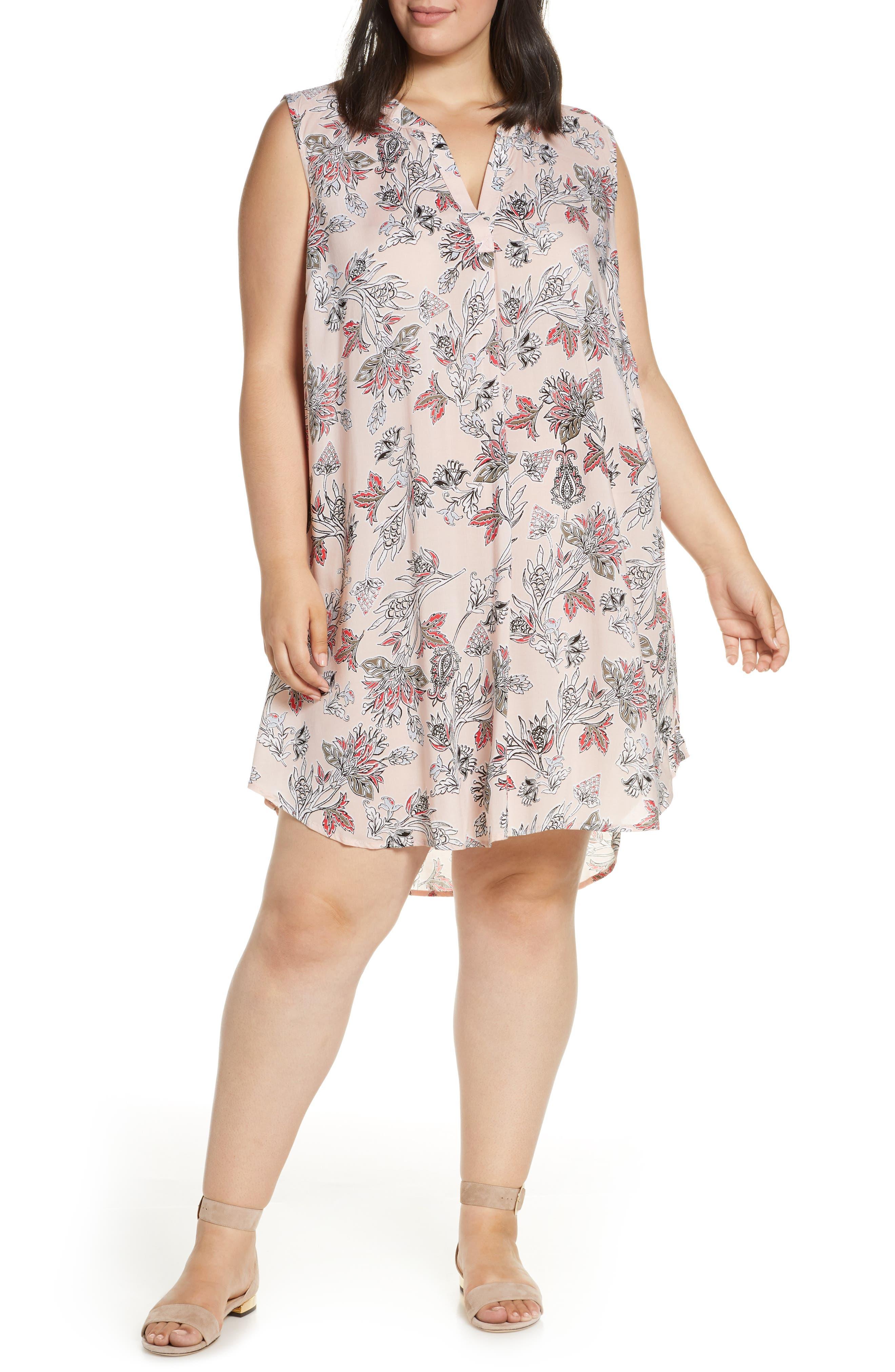 Plus Size Single Thread Split Neck Sleeveless Dress, Pink