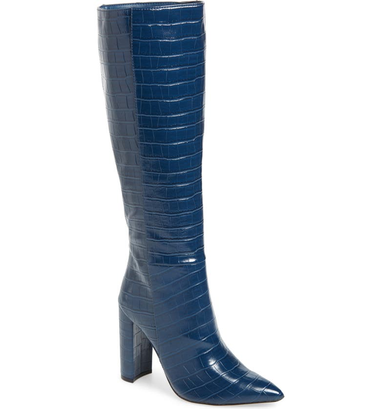 STEVE MADDEN Triumph Knee High Boot, Main, color, BLUE CROCO