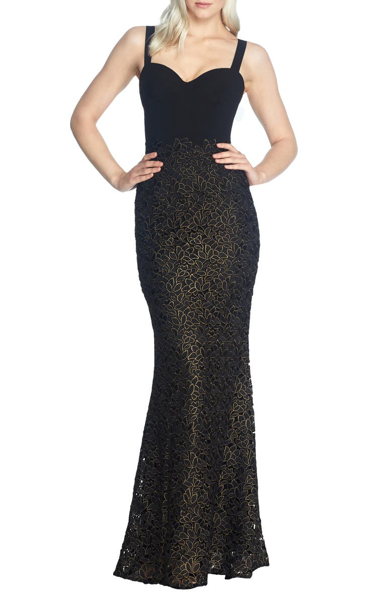 DRESS THE POPULATION Lorena Lace Mermaid Gown, Main, color, 001