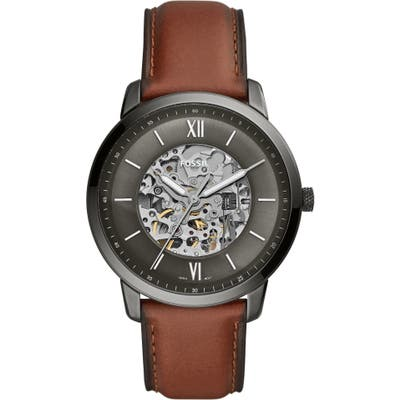 Fossil Neutra Automatic Leather Strap Watch, 4m