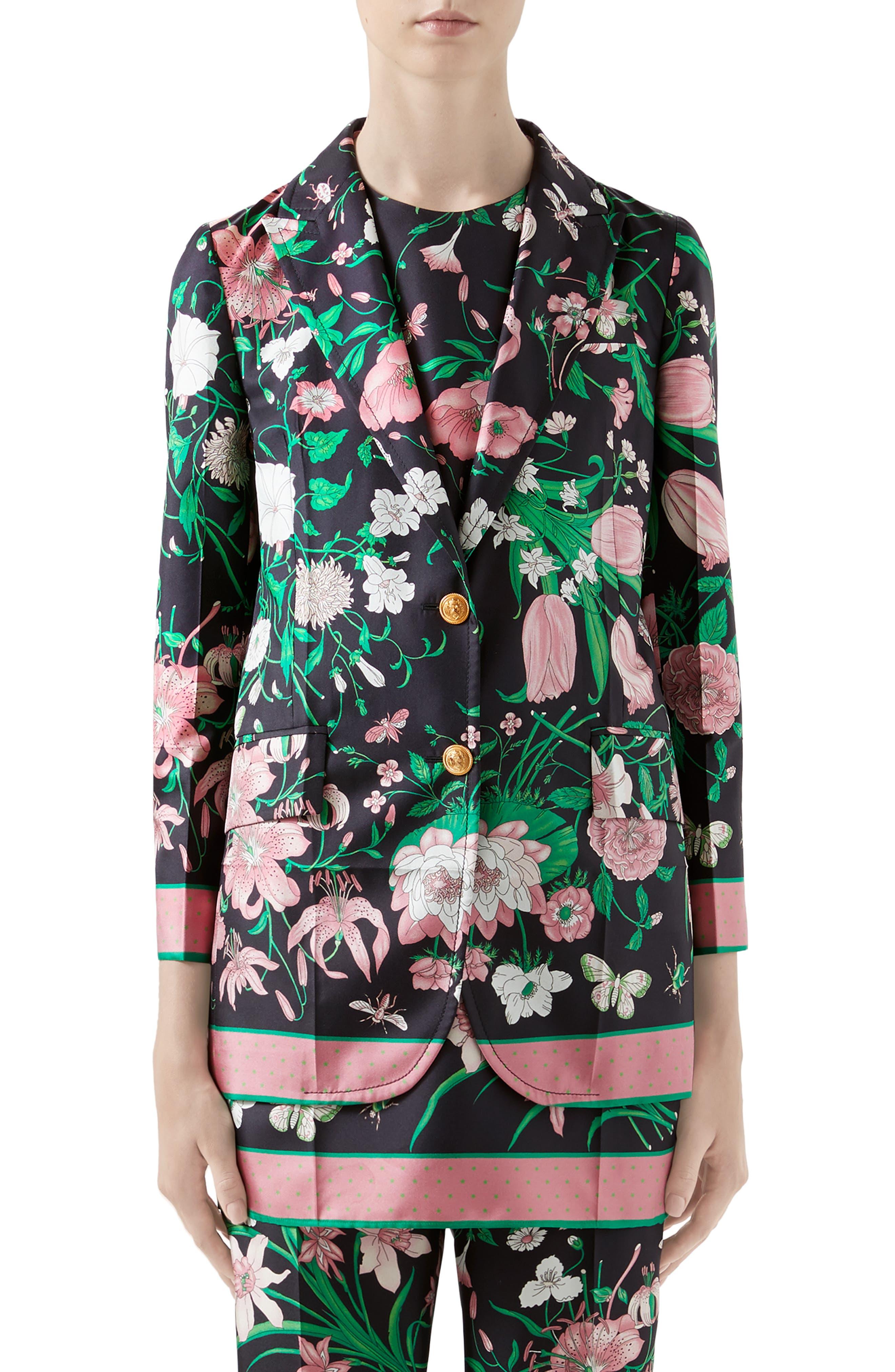 Gucci  Flora Print Silk Twill Blazer