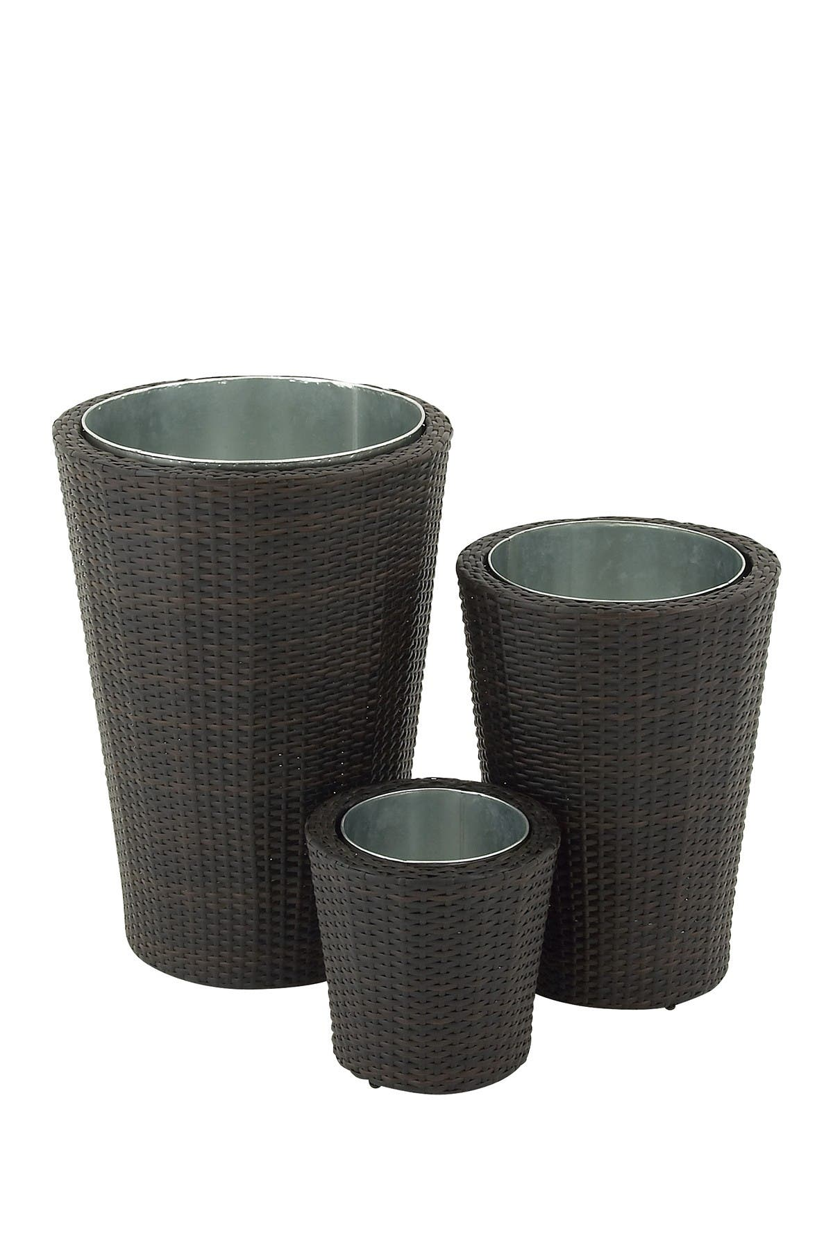 Image of Willow Row Black Contemporary Round Rattan Planter - Set of 3