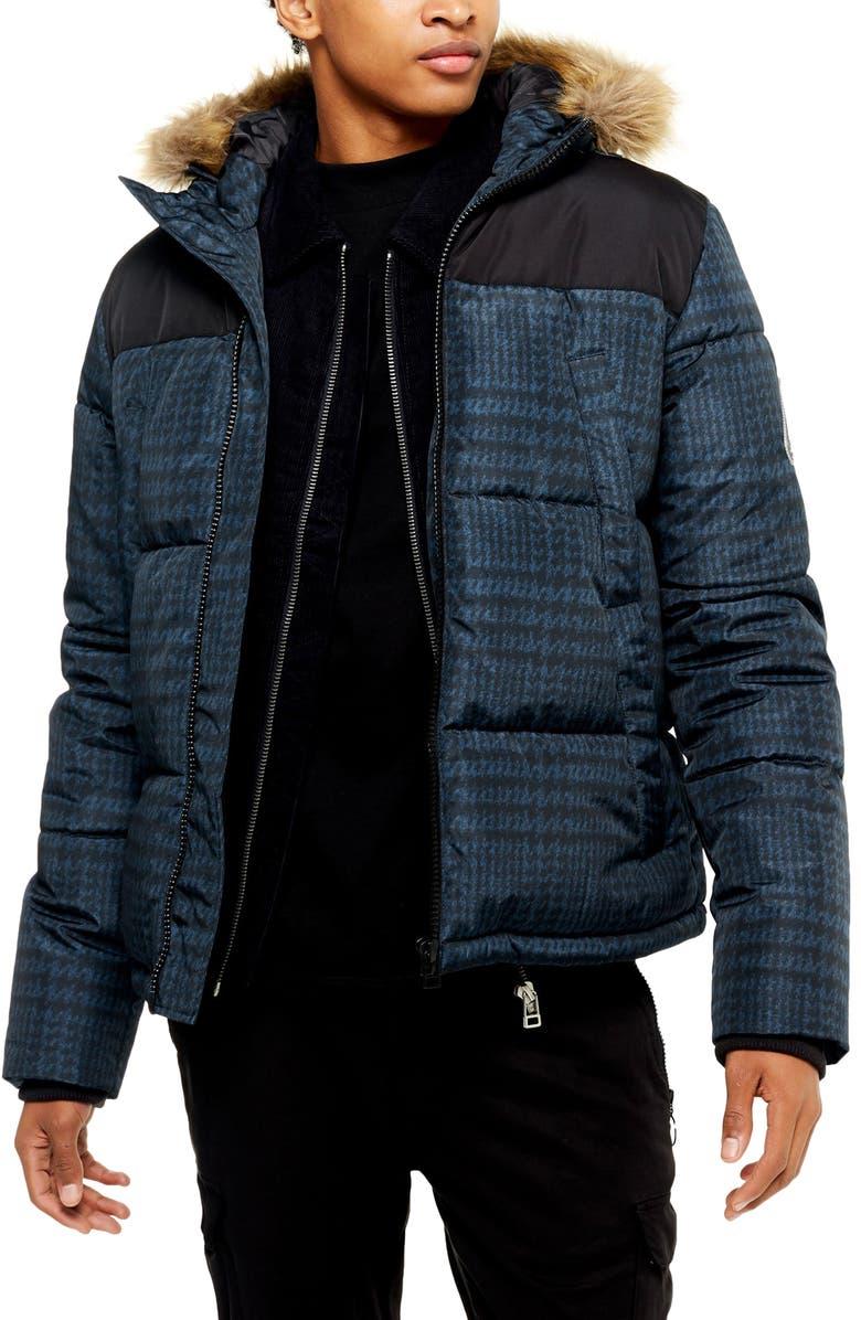 TOPMAN Check Faux Fur Trim Puffer Coat, Main, color, NAVY MULTI